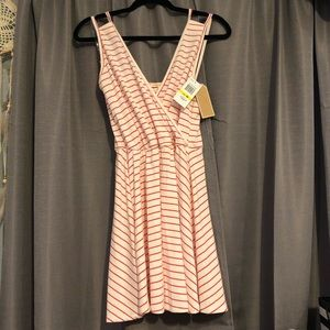 Red and white stripped dress